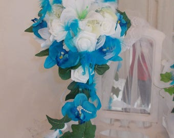turquoise and white orchids and pink bridal wedding bouquet