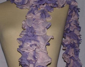 Purple and pink ruffled knit scarf