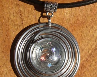 "Choker black leather, aluminum and clear acrylic cabochon Star ""Celeste 1"" pendant"