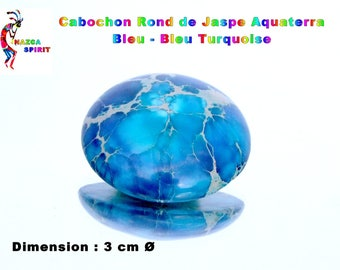 Cabochon round 3 cm by 7 mm thick Turquoise Blue Aquaterra Jasper