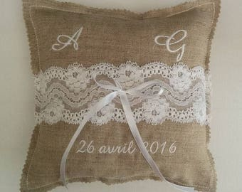 wedding ring bearer pillow / ring holder vintage chic linen and lace of calais