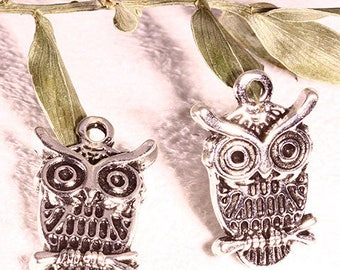 10 OWL charms metal argente23x15mm