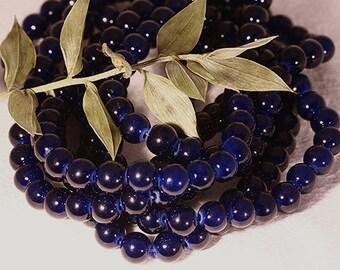 6mm: 20 dark blue round dyed natural jade stone beads