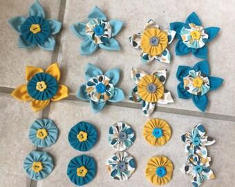 18 flowers kanzashi Yo-Yo fabric flower, hand made, to customize your creations, embellishment purse, hairclip, brooch, jewelry, scrapbooking
