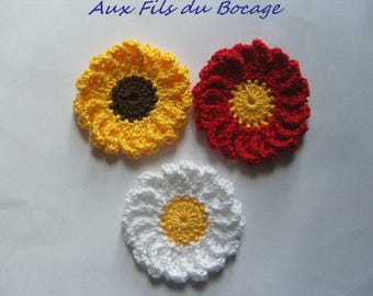 Crocheted Daisy flowers red white and yellow set of 3