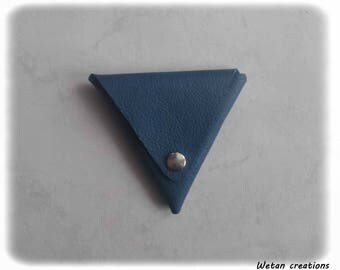 Teal Leather triangle coin purse