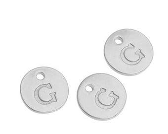Letter G - 12mm Silver Pendant