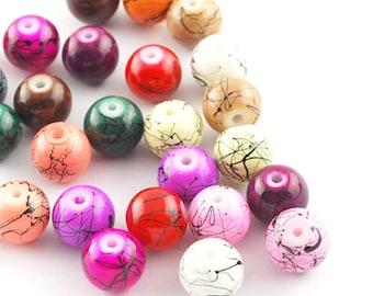 100 beads marbled glass 4mm set mix PER 0175