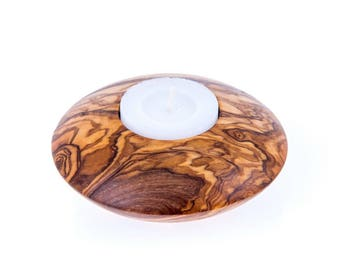 Olive wood candle holder