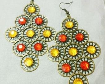 orange and red diamond earrings