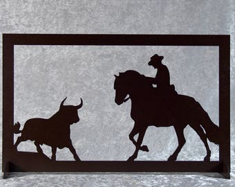 Bull and rider - silhouette wooden frame