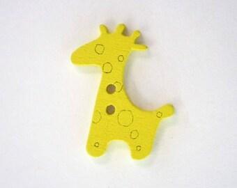 Wood giraffe button: yellow x 10 001914