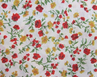 Red, yellow, green floral Liberty fabric