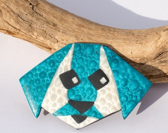 dog brooch mica shift turquoise and White Pearl polymer clay