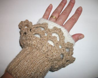 "Elegant ""Greige"" color women's mittens/arm warmers"