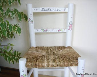 Decorated white straw Chair handmade in the name of child