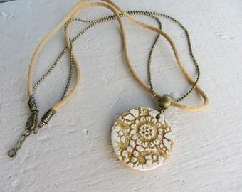 handcrafted ceramic pendant necklace lace, Golden beige and off-white cord and bronze ball chain