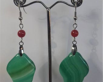 Stainless steel earrings, green leaf and carnelian agate