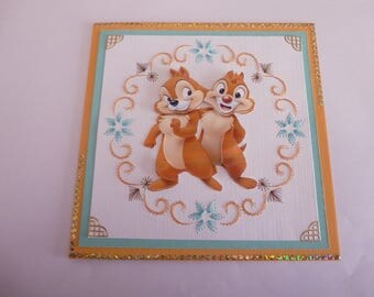 "201813 embroidered card ""chip and Dale little squirrels"""