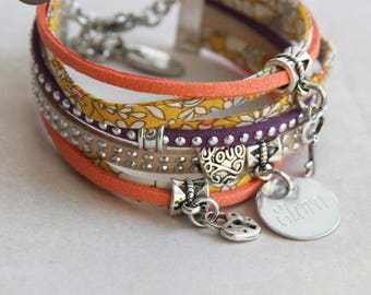 """Fancy bracelet personalized with names """"So Pretty"""" June's Meadow yellow"""