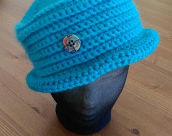 Hat adult woman turquoise wool