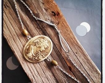 HeadBand / head silver lace jewelry / cameo cabochon