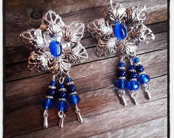 Royal Blue beads and silver filigree clip earrings