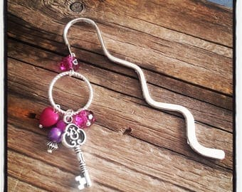 Silver charm bookmark purple beads