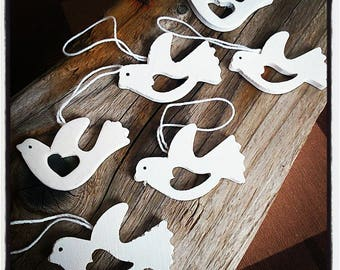 set of 6 doves white wood with string