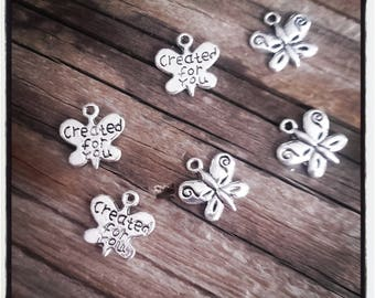 "set of 6 butterflies ""created for you"" charms - silver - 13 mm"