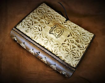 Luxury sketch mini journal notebook diary workbook A6 13, 8 X 10, 5cm leather embossed in gold