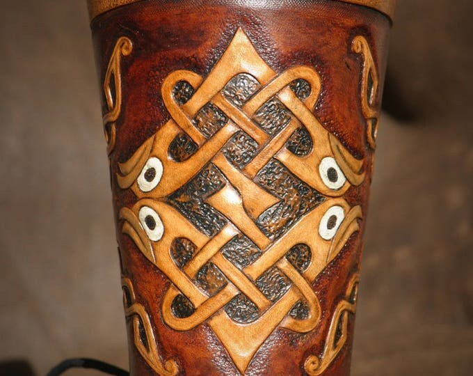 Bracelet arm Cannon unique Celtic medieval archer leather tooled