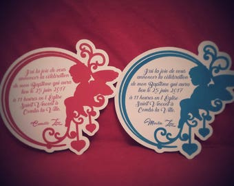 personalized baptism baby birth announcements. budget Angel on Moon