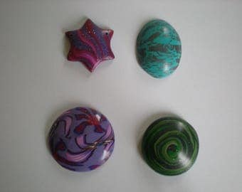 set of 4 polymer clay cabochons