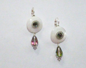 MOTHER OF PEARL WITH CRYSTAL EARRINGS