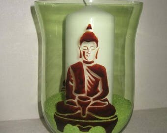 Free shipping! Buddha hand painted candle holder
