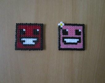 Pixel Art Perler - {Super Meat Boy} - Meat Boy & Bandage Girl