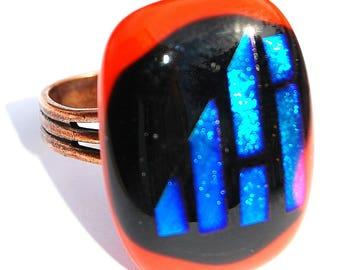 Original ring technique of fusing - red coral -, Dichroic Glass Adjustable ring