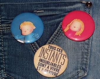 Set of 3 badges / 80's nostalgia