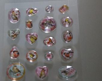 Diamonds birds scrapbooking stickers