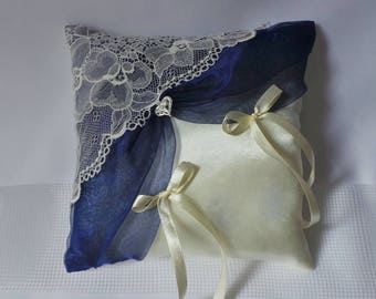 Romantic ring bearer pillow chic blue organza lace ivory to present alliances