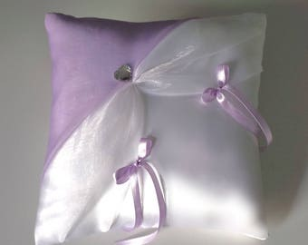 Purple/white ring bearer pillow