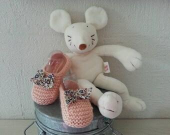 Little feet 0-3 months booties powder liberty spirit & blanket-