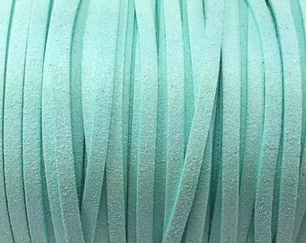 1 meter wide 5 mm frosted Blue Suede cord