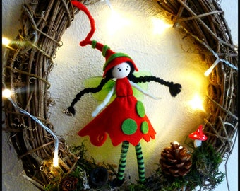 Fairy Crown - Crown of advent - 30 cm vine/felt and string light