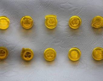 Set of 10 Magnets emojis/emoticons transparent yellow resin