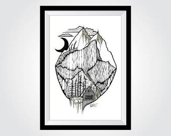 "A4 Mountain Landscape Fine Art Print - Chamonix French Alps - (approx. 8"" x 12"")"