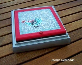 """Little Blue Bird"" mosaic and wood jewelry box"
