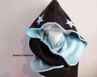 Hooded snood scarf three fleece