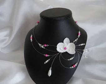 White MYLLIE wedding necklace Pearl & fuchsia with Orchid